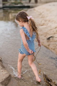 Swimsuits, Bikinis, Swimwear, Navy And White, One Piece Swimsuit, Little Girls, Feminine, Cute, Collection