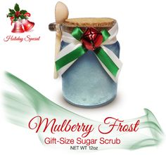 'Tis the season for giving! Now introducing gift-sized sugar scrubs that are perfect size for giving and gifting. This has deep flavored morsels of juicy mulberry join with notes of juicy red apple, gentle snow crystals, subtle clary sage, frosted jasmine, aromatic mimosa, winter musk, rich amber...