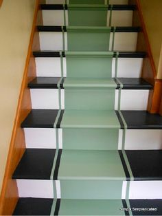 DIY Stairs with faux runner