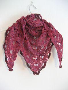pink and purple shawl,  wool shawl,  crochet lace, merino wool, triangle shawl, by DutchDaisyDesign on Etsy