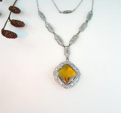 Art Deco Necklace Topaz Amber Glass Stone Chrome Geometric Accents 1930s Jewelry