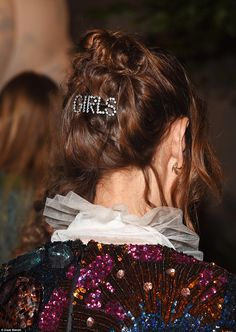 Hair-raising: Proving the clue was in the details, Alexa wore a dainty hair clip adorned with the word Girls in diamates