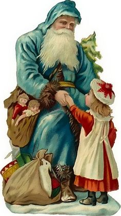 Vintage Blue-robed Father Christmas sits down and takes hand of a little girl Christmas Scenes, Christmas Past, Victorian Christmas, Father Christmas, Christmas Holidays, Xmas, Christmas Villages, Primitive Christmas, Vintage Santas