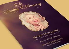 Memorial And Funeral Program Newsletter Design Template By