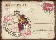 JanetK.Design Free digital vintage stuff: Happy New Year Cards/Tags deel 2