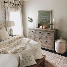 Home Decoration Design .Home Decoration Design Farmhouse Style Bedrooms, Farmhouse Master Bedroom, Master Bedroom Makeover, Master Bedroom Design, Farmhouse Homes, White Farmhouse, Master Suite, Master Bathroom, Fall Bedroom