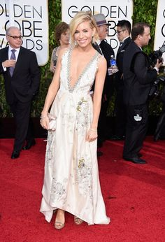 #GoldenGlobes 2015 #fashion #photos – Sienna Miller in Miu Miu and Tiffany jewellery