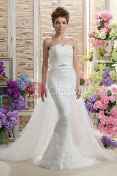 Faddish Sheath/Column Watteau Train Strapless Tulle Daria's Wedding Dress : Tidebuy.com