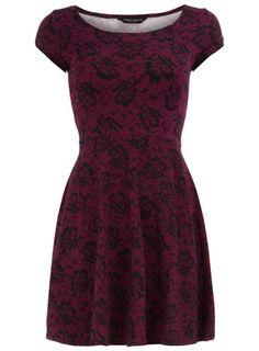 29 Oxblood lace print flare dress Purple Mini Dresses c0eca8baf