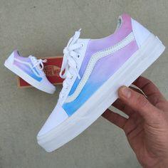 Custom Painted Vans Old Skool Sneakers - Pastel Colored Ombre Gradient #sneakersvans
