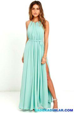 Elbise Modelleri - Abiye Elbiseler - Gece Elbiseleri - Gold Metallic Halter Neck Chiffon Gown