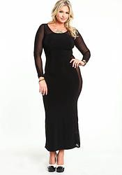 Black Chic Mesh Maxi Dress (Plus Size)