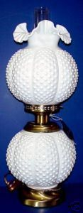 Fenton Milk Glass Hobnail Gone With the Wind Lamp