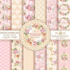 Digital Paper Floral, Floral Digital Papers, Shabby Chic Digital Paper, Watercolor Digital Paper, Roses Digital Paper, Pink Digital Paper by EnchanticaStudios on Etsy