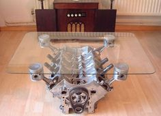 Recycled car furniture: V-8 engine block coffee table Cool idea for a man cave!