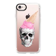 Funny Skull with Melting Pink Ice Cream Hat - iPhone 7 Case And Cover ($40) ❤ liked on Polyvore featuring accessories, tech accessories, phone cases, iphone case, apple iphone case, pink iphone case, iphone cover case, iphone cases and clear iphone case