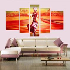 5034 handmade 5 piece purple modern abstract oil painting on canvas wall art African woman picture for living room home decora $58.00