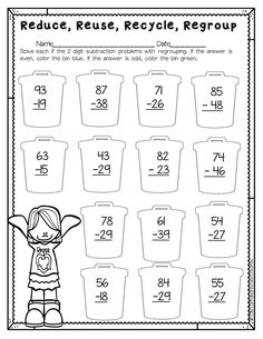 Reduce, Reuse, Recycle is a great Earth Day printable for students to practice subtracting two 2 digit numbers with regrouping. After solving each problem, students will color the can according to if it's even or odd. This is part of a Spring Literacy and Math No Prep Bundle for Second Grade that is full of no prep ELA and math printables for the entire season! This unit covers spring, St. Patrick's Day, Easter, Earth Day and Cinco de Mayo!