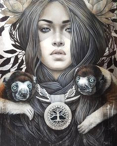 Sifaka by Sophie Wilkins 2018 Photo Portrait, Portrait Art, Illustrations, Illustration Art, Popular Paintings, Esoteric Art, Modern Portraits, Magic Realism, Whimsical Art