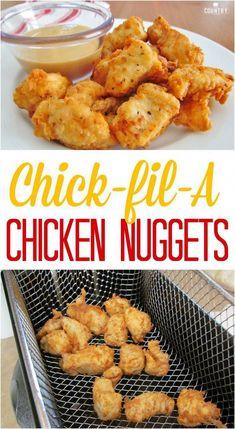 Restaurant Recipes, Dinner Recipes, Kfc Restaurant, Chick Fil A Nuggets, Chick Fil A Chicken Nuggets Recipe, Best Recipe For Chicken Tenders, Chik Fil A Chicken, Breaded Chicken Tenders, Diced Chicken