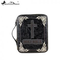 Black Floral Tooled Holy Bible & Cross Western Bible Cover