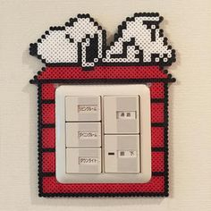 Snoopy frame perler beads by Pink's shop Melty Bead Patterns, Hama Beads Patterns, Beading Patterns, Pearler Beads, Fuse Beads, Beaded Snoopy, Bead Crafts, Diy And Crafts, Pearl Beads Pattern