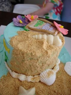 Beach Cake with shells and flowers