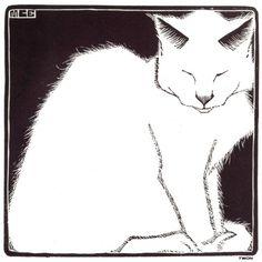 M.C. Escher ~ White Cat I, 1919