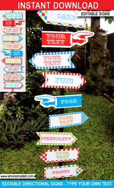 Colorful Carnival Directional Signs | Carnival Party | Circus Party | Direction Arrows | Editable DIY Template | $4.50 INSTANT DOWNLOAD via SIMONEmadeit.com