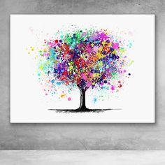 Tree Of Life Painting, Tree Of Life Art, Tree Art, Abstract Canvas Art, Canvas Wall Art, Splatter Art, Splatter Paint Canvas, Geometric Trees, Art Drawings For Kids