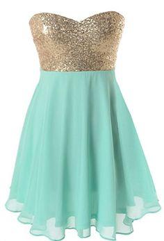 Spearmint Sparkle Dress   Mint Green Gold Sequin Party Dresses   RicketyRack.com