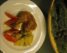 Curryhuhn und Safranrisotto