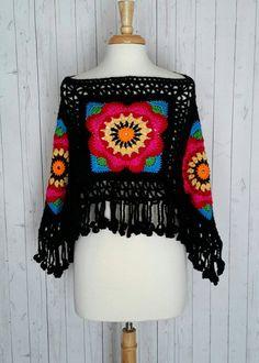Poncho Boho Gypsy Frida Kahlo Inspired Flower Child by MarieX3