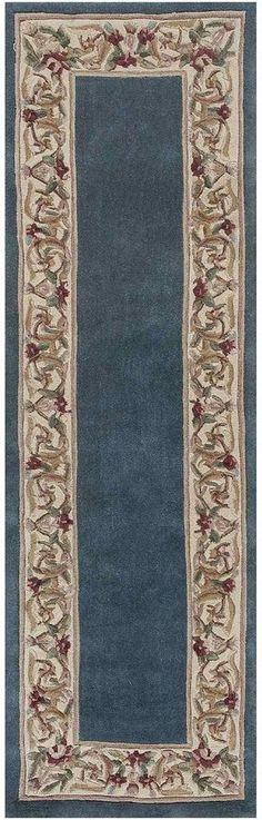 Kas Floral Border Wool Runner Rug