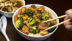 Japanese Tofu Broccoli And Miso Soup Dinner Vegan V, Tofu, Miso Soup, Sprouts, Broccoli, Lunch, Snacks, Meat, Chicken
