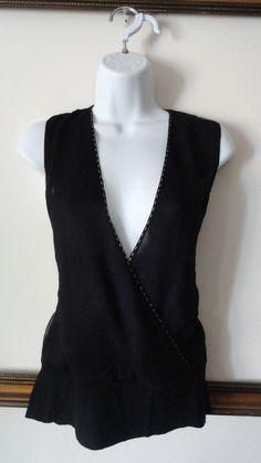 Anthropologie Hazel Deep V-neck Sheer Wrap Black Shirt Blouse Top Medium M #Hazel #Blouse