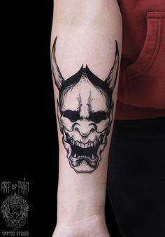 Demon tattoo on forearm oriental by Elizaveta Ostanina Creepy Tattoos, Badass Tattoos, Body Art Tattoos, Sleeve Tattoos, Cool Tattoos, Hannya Maske Tattoo, Oni Mask Tattoo, Hanya Tattoo, Tattoo Arm
