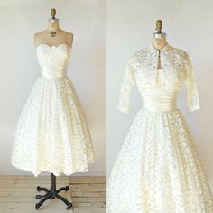 If only this had a train! 50s Lace Wedding Dress --- Vintage Tea Length Wedding Dress on Etsy, $545.00