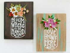 Ideas wood crafts diy signs mason jars for 2019 Art Deco Flowers, Felt Flowers, Fabric Flowers, Paper Flowers, Spring Flowers, Felt Crafts, Wood Crafts, Diy And Crafts, Paper Crafts