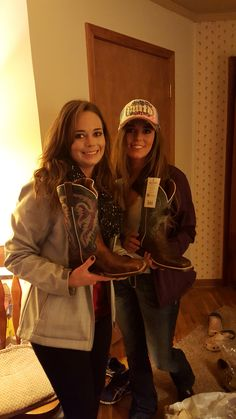 Twins, Madison & Megan Crow, with their Dan Post boots