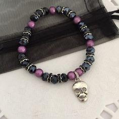 Childrens HALLOWEEN skull bracelet - purple miracle bead and black glass bead skull bracelet - skull bracelet - black halloween bracelet