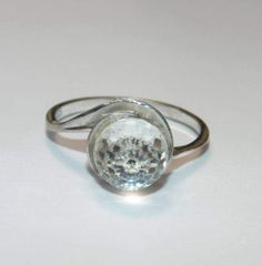 Vintage SR422 Estate Sterling Silver Disco All Faceted Clear Glass Stone Round Bead Gorgeous US Size 6.5 Ring 925 UK N Jewellery For Her