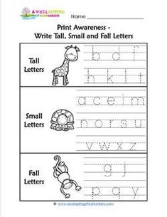 Print Awareness – Write Tall, Small and Fall Letters Print Awareness – Write large, small and falling letters Teaching Kindergarten Writing, Kindergarten Handwriting, Handwriting Activities, Teaching Letters, Homeschool Kindergarten, Kindergarten Worksheets, Homeschooling, Literacy, Science Words