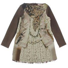 Miss Blumarine Junior Girls Brown & Pink 'Trompe l'oeil' Dress ($290) via Polyvore