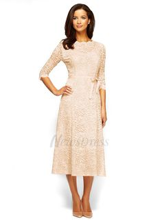 A-Line/Princess Scoop Neck Tea-Length Bow(s) Lace Zipper Up Sleeves 3/4 Sleeves No Champagne Spring Summer Fall General Mother of the Bride Dress
