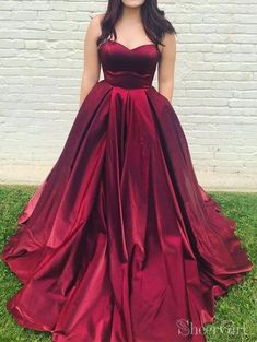 f0864c0d6da Cheap Simple Burgundy Long Prom Dresses with Pockets ARD2162 – SheerGirl