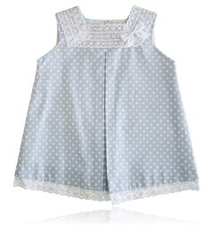 Spanish baby clothes | baby Dress | Blue & white dotty dress |babymaC - 1