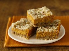 Gluten Free Pumpkin Cheesecake Bars - made with Gluten Free Yellow Cake Mix. Recipe looks simple and yummy!