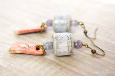 Pink Grey ceramic earrings Romantic jewelry by chezviolette