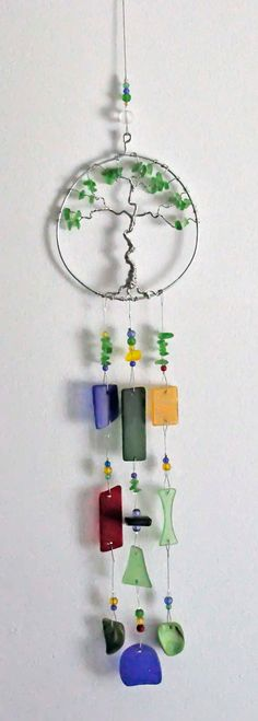 Recycled sea beach glass suncatcher windchime wind by wedoart, $45.00